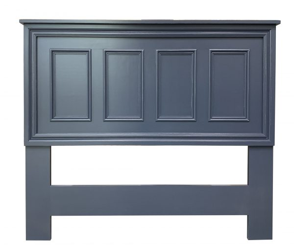 panelled wood headboard navy blue